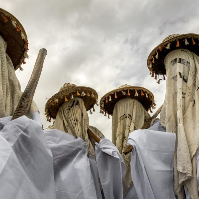 """Benin, West Africa, Porto-Novo, masked messengers from yafin nigerian king"" stock image"