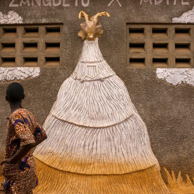 """Benin, West Africa, Porto-Novo, young man passing in front of zangbeto adiye..."" stock image"