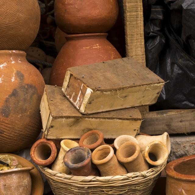 """Benin, West Africa, Adjara, little coffins sold in a market for voodoo..."" stock image"