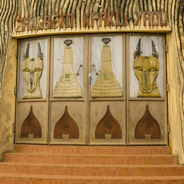 """Benin, West Africa, Porto-Novo, zangbeto temple door"" stock image"