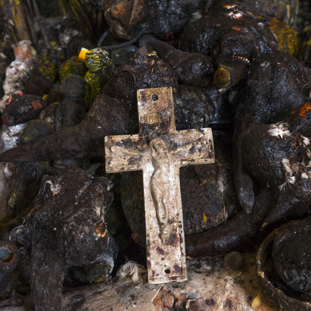 """Benin, West Africa, Bonhicon, crucifix used during a voodoo ceremony"" stock image"