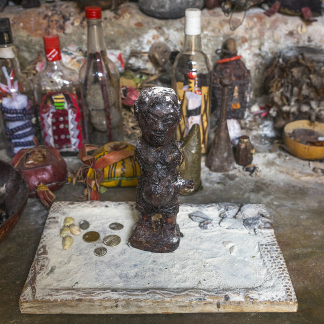 """Benin, West Africa, Bonhicon, divination board used during a voodoo ceremony"" stock image"