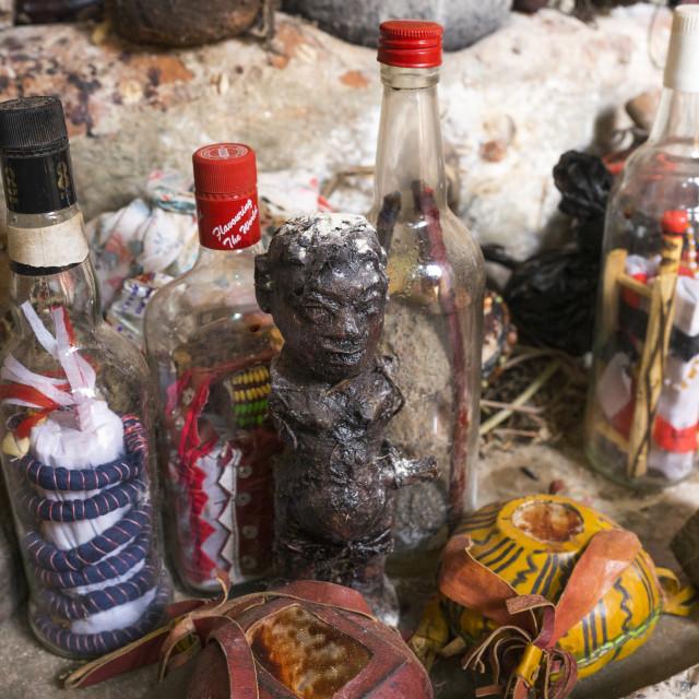 """Benin, West Africa, Bonhicon, kagbanon bebe voodoo priest temple"" stock image"