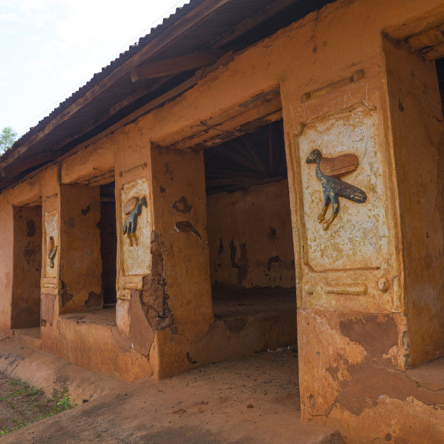 """Benin, West Africa, Abomey, bas-reliefs at agoli-agbo former palace"" stock image"