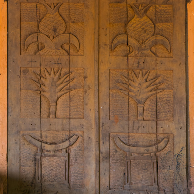 """Benin, West Africa, Abomey, agoli-agbo former palace door"" stock image"