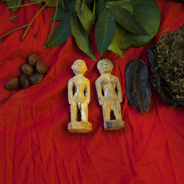 """Benin, West Africa, Bonhicon, statutes used for a voodoo ceremony"" stock image"