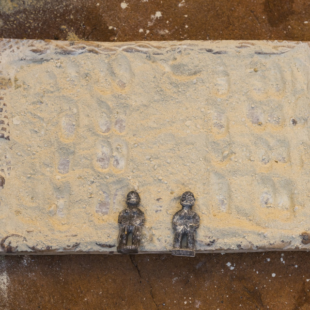 """""""Benin, West Africa, Bonhicon, divination board used during a voodoo ceremony"""" stock image"""