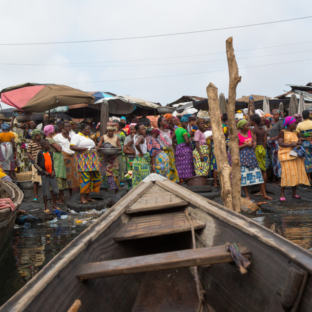 """Benin, West Africa, Cotonou, dantokpa market taxi boats"" stock image"