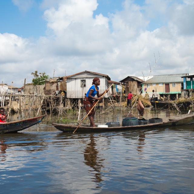 """Benin, West Africa, Ganvié, stilt village on lake nokoue"" stock image"