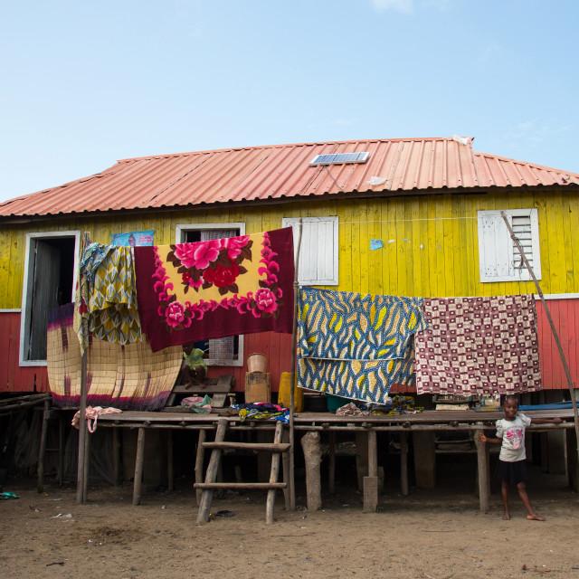 """""""Benin, West Africa, Ganvié, stilt houses on dry land on the banks of lake nokoue"""" stock image"""