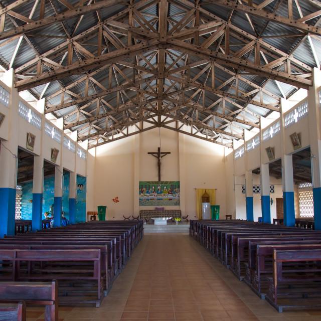 """Benin, West Africa, Ganvié, interior of church on lake nokoue"" stock image"