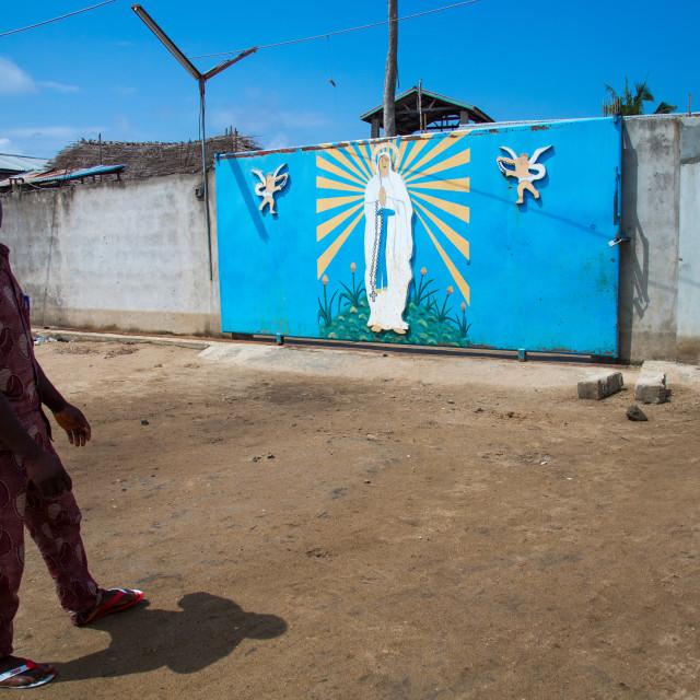 """Benin, West Africa, Ganvié, church courtyard on lake nokoue"" stock image"