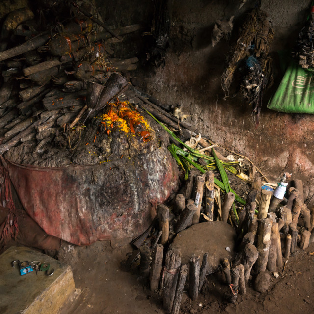 """""""Benin, West Africa, Bopa, wood sticks used to ask favors to the spirits in a..."""" stock image"""
