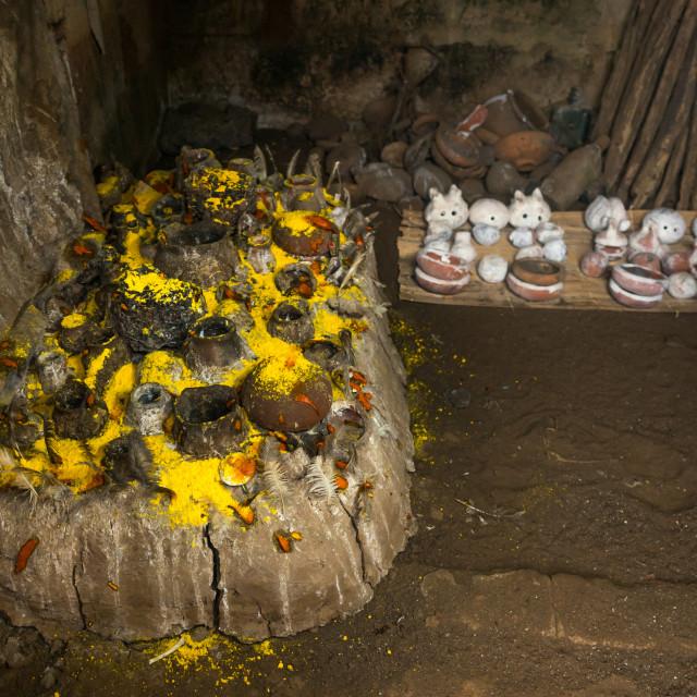 """Benin, West Africa, Bopa, deity dan temple for the voodoo dead twins cult"" stock image"
