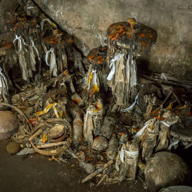 """""""Benin, West Africa, Bopa, voodoo altars covered with oil and blood..."""" stock image"""