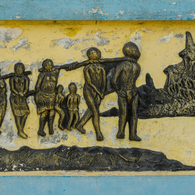 """Benin, West Africa, Ouidah, the memorial zomachi on the slave trail showing..."" stock image"