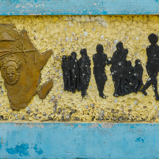 """""""Benin, West Africa, Ouidah, the memorial zomachi on the slave trail showing..."""" stock image"""