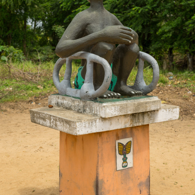 """""""Benin, West Africa, Ouidah, memorial on the slave trail statue"""" stock image"""