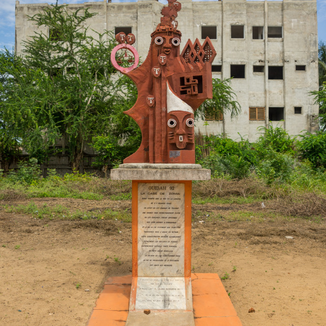 """""""Benin, West Africa, Ouidah, zomai house statue on the slave trail"""" stock image"""