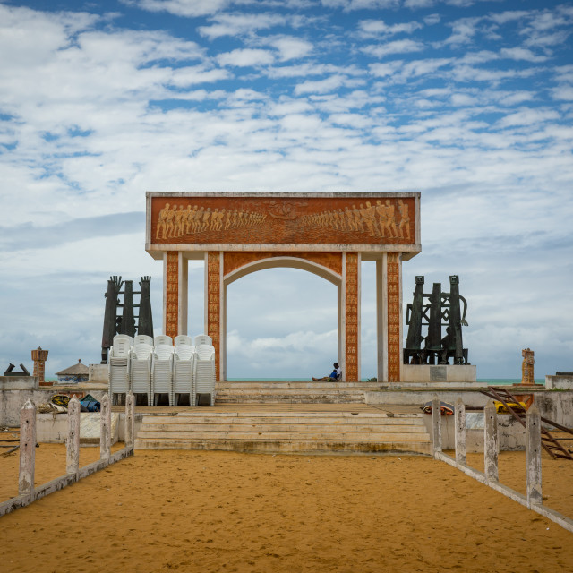 """Benin, West Africa, Ouidah, memorial at door of no return, major slave port..."" stock image"