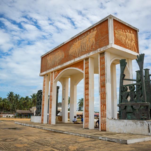 """""""Benin, West Africa, Ouidah, memorial at door of no return, major slave port..."""" stock image"""