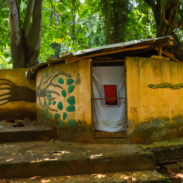 """""""Benin, West Africa, Ouidah, temple in the sacred forest of kpasse"""" stock image"""