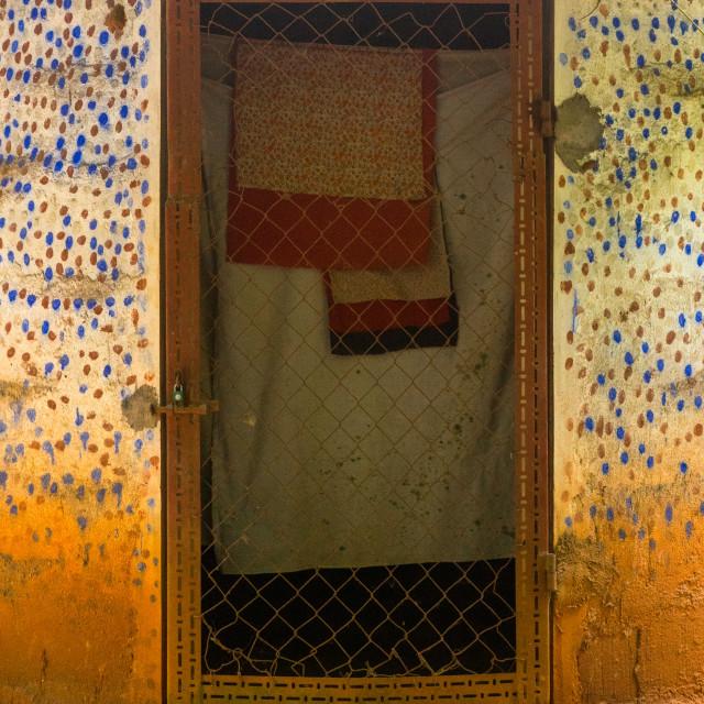"""Benin, West Africa, Ouidah, dada zodji temple door in the sacred forest of..."" stock image"