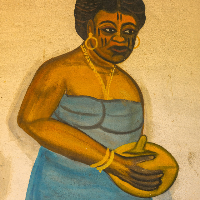 """""""Benin, West Africa, Ouidah, temple in the sacred forest of kpasse painted wall"""" stock image"""