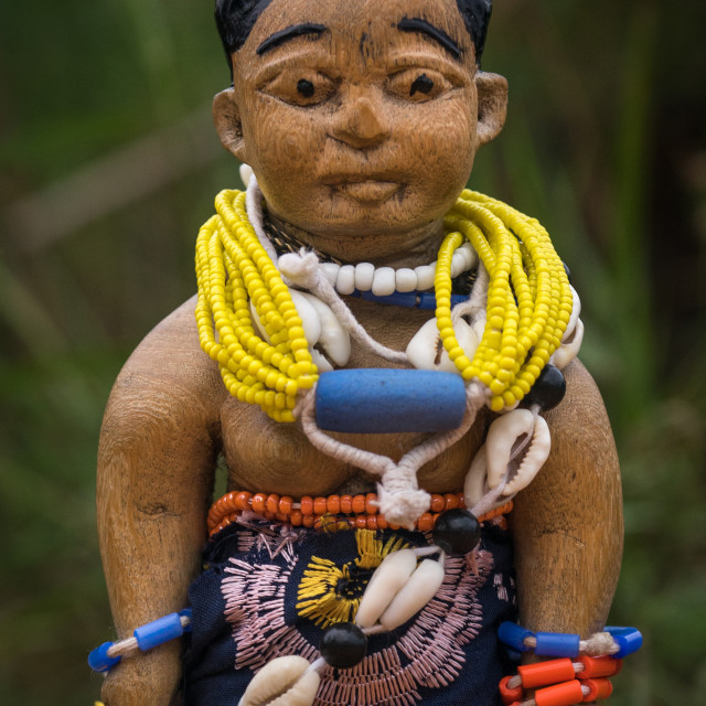 """""""Benin, West Africa, Ouidah, carved wooden figure made to house the soul of a..."""" stock image"""