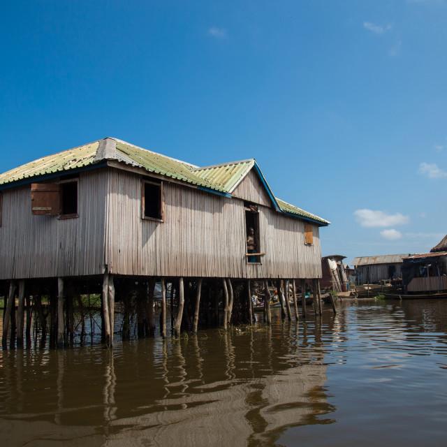 """""""Benin, West Africa, Ganvié, stilt house on lake nokoue"""" stock image"""
