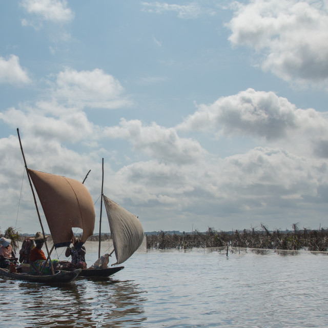 """Benin, West Africa, Ganvié, boat sailing on lake nokoue"" stock image"