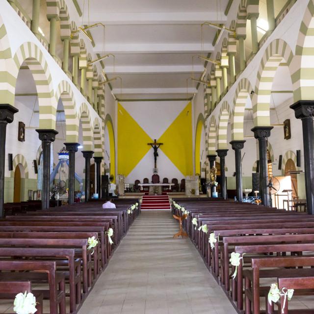 """Benin, West Africa, Cotonou, inside notre dame roman catholic cathedral"" stock image"