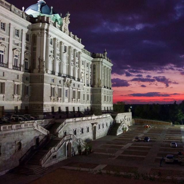 """""""Royal Palace of Madrid at Night"""" stock image"""