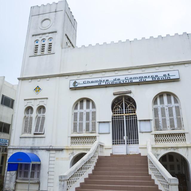 """""""Benin, West Africa, Cotonou, chambre de commerce old colonial building"""" stock image"""