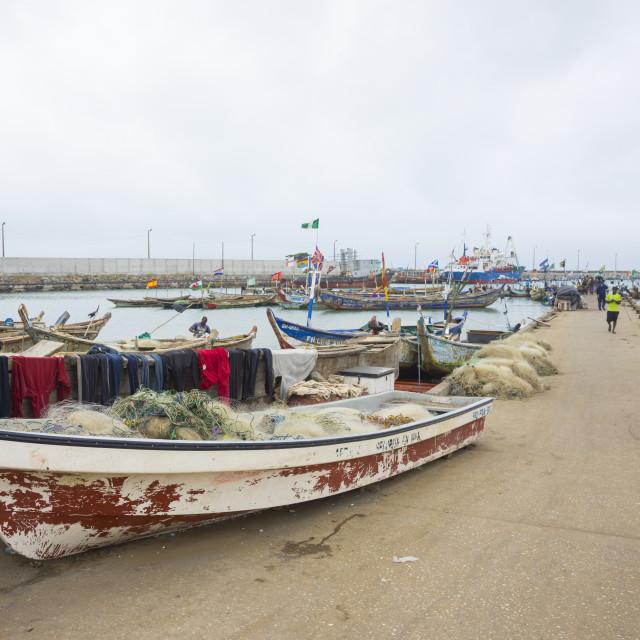 """Benin, West Africa, Cotonou, fishermen ships in the port"" stock image"