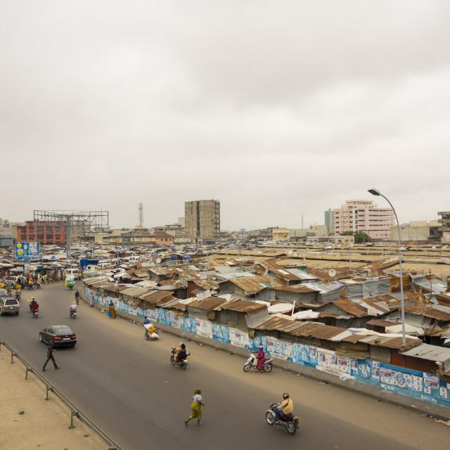 """""""Benin, West Africa, Cotonou, dantokpa market aerial view"""" stock image"""