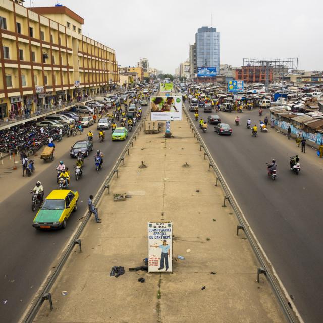 """Benin, West Africa, Cotonou, dantokpa market road"" stock image"