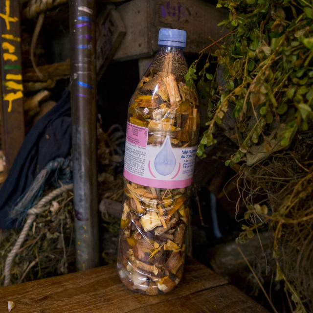 """""""Benin, West Africa, Cotonou, piece of woods in a bottle used for traditional..."""" stock image"""
