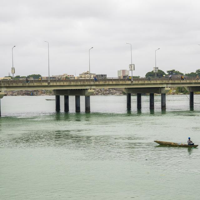"""Benin, West Africa, Cotonou, bridge over nokoue lake"" stock image"