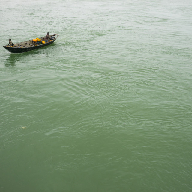 """Benin, West Africa, Cotonou, boat in nokoue lake"" stock image"