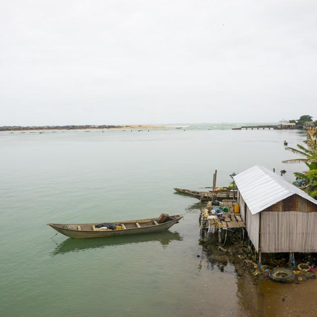 """Benin, West Africa, Cotonou, house on nokoue lake banks"" stock image"