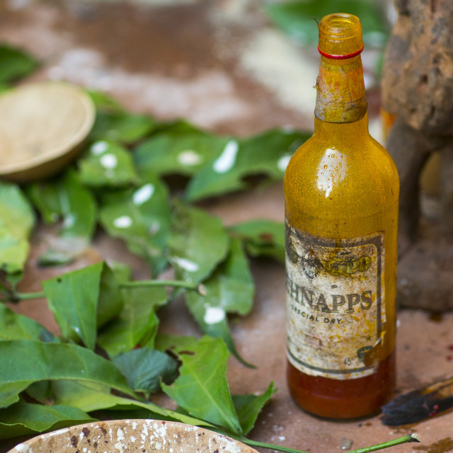 """""""Benin, West Africa, Bonhicon, schnapps bottle used during a voodoo ceremony"""" stock image"""