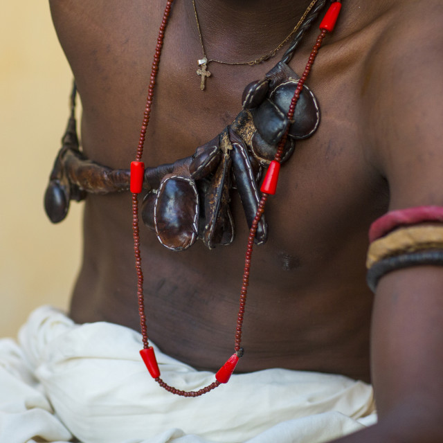 """Benin, West Africa, Bonhicon, kagbanon bebe voodoo priest necklaces and arm..."" stock image"