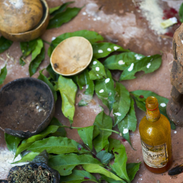 """""""Benin, West Africa, Bonhicon, stuff used for a voodoo ceremony"""" stock image"""