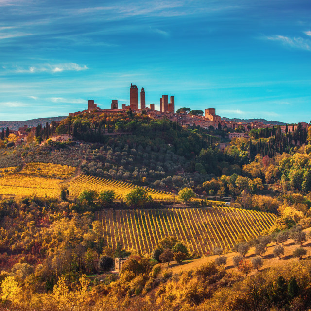 """""""Beautiful view of the medieval town of San Gimignano, Tuscany, I"""" stock image"""