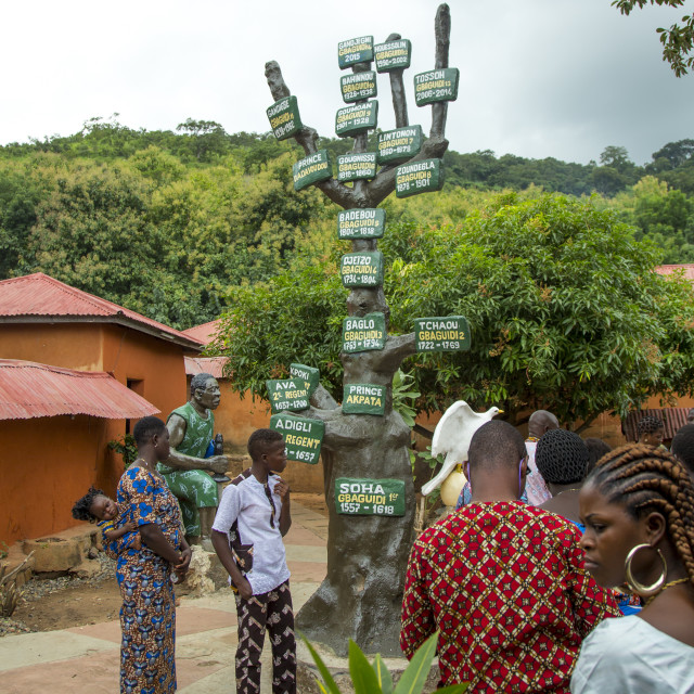 """Benin, West Africa, Savalou, beninese tourists visiting the royal palace..."" stock image"