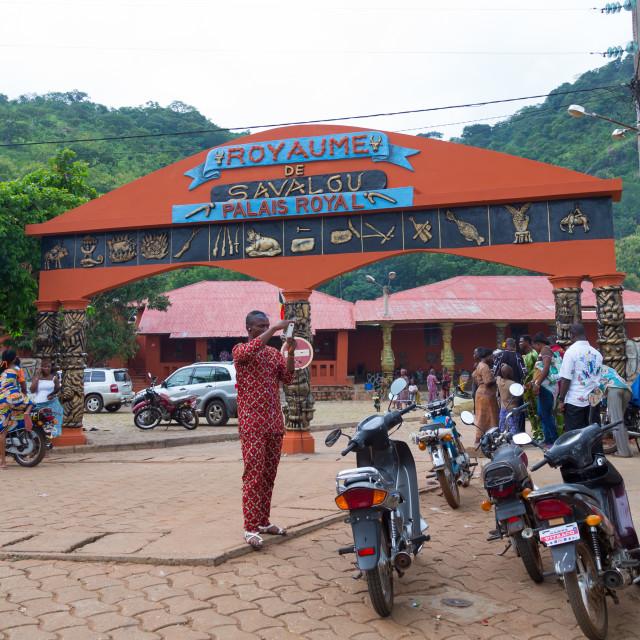 """Benin, West Africa, Savalou, royal palace sponsored by muammar gaddafi"" stock image"