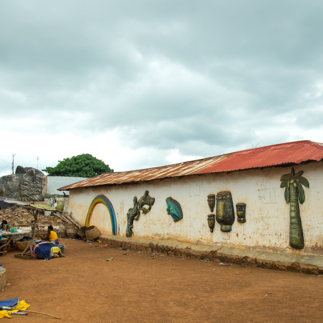 """Benin, West Africa, Savalou, voodoo temple"" stock image"