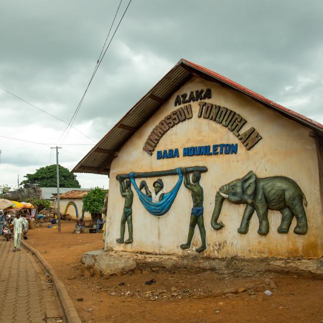 """Benin, West Africa, Savalou, baba hounleton vodoo temple"" stock image"
