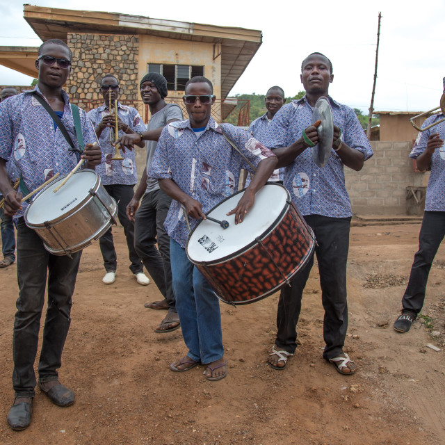 """Benin, West Africa, Savalou, orchestra playing in the street"" stock image"